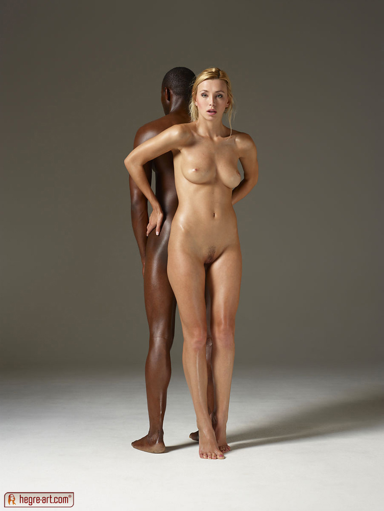 black and white guy posing nude together