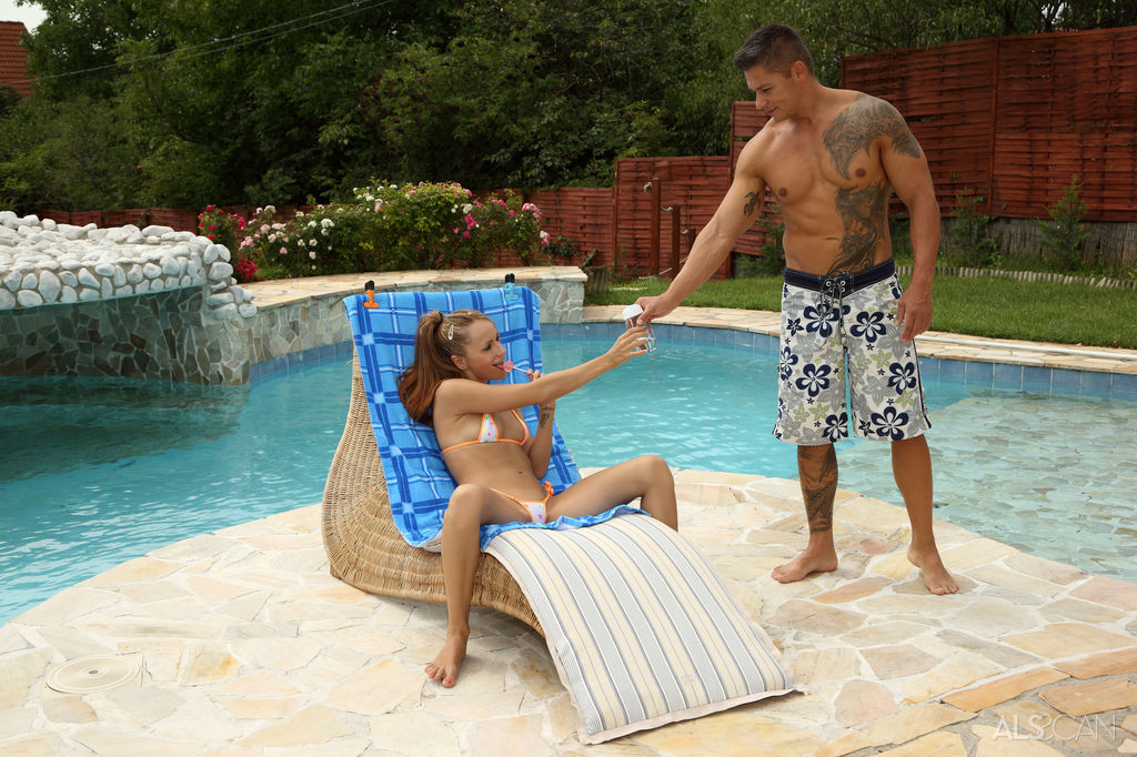 Pool cleaner fucks a teen with tiny tits - 2 4