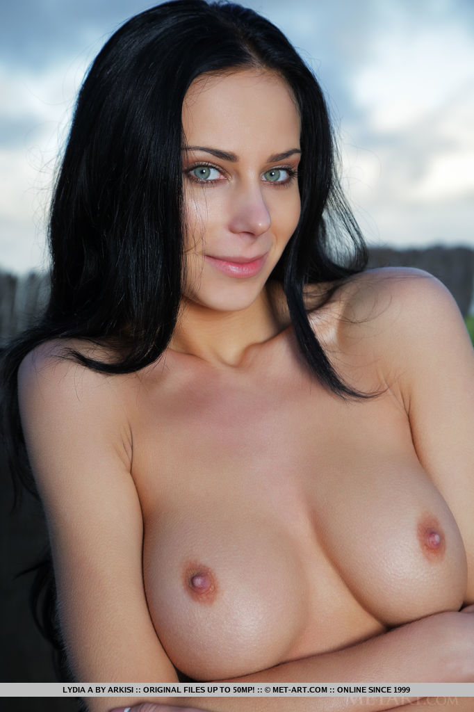 Naked black haired girl with big tits